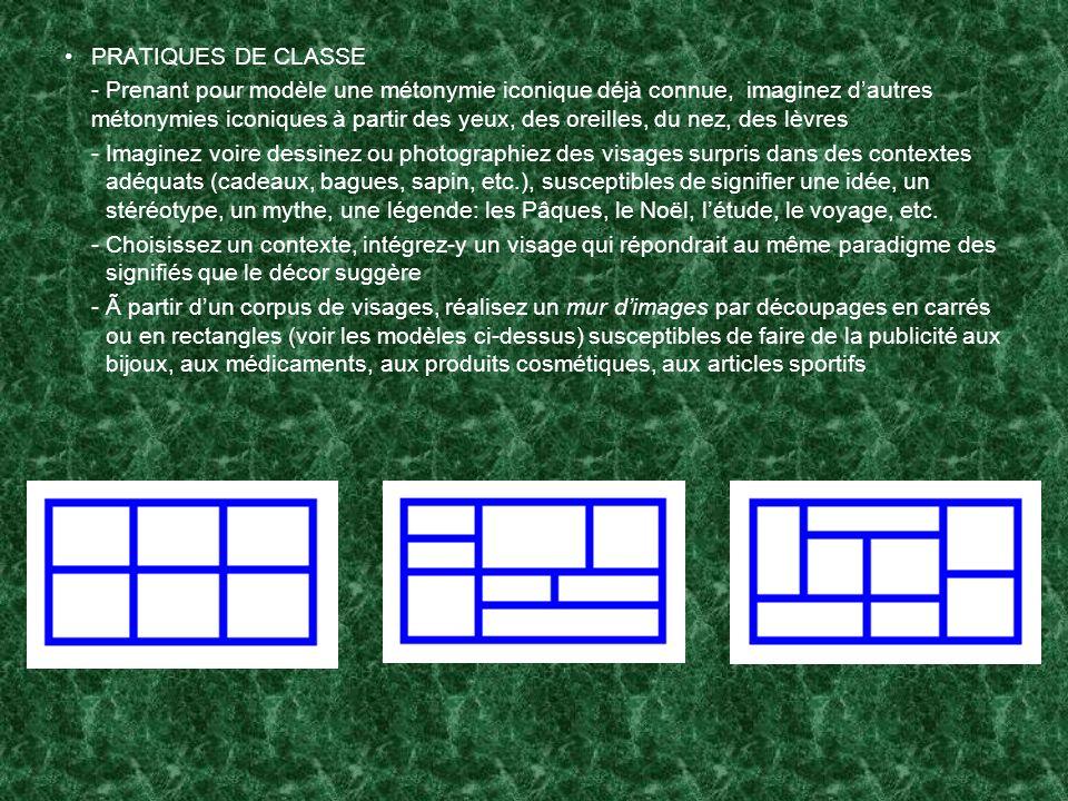 PRATIQUES DE CLASSE - Prenant pour modèle une métonymie iconique déjà connue, imaginez dautres métonymies iconiques à partir des yeux, des oreilles, d