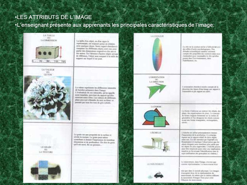 LES ATTRIBUTS DE LIMAGE Lenseignant présente aux apprenants les principales caractéristiques de limage: