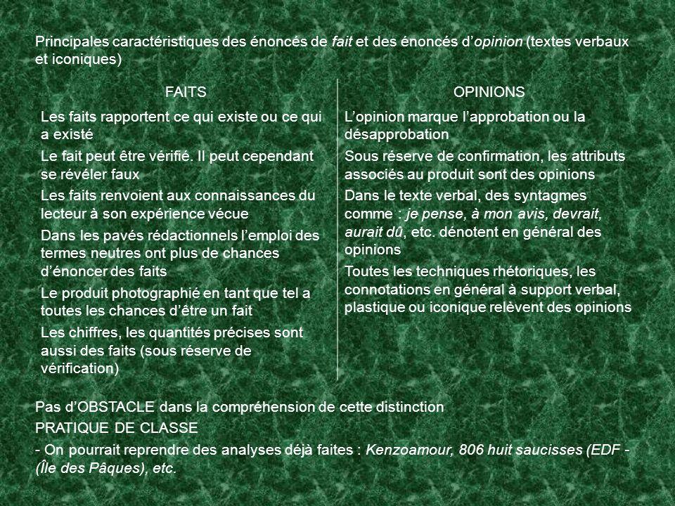 Principales caractéristiques des énoncés de fait et des énoncés dopinion (textes verbaux et iconiques) FAITSOPINIONS Les faits rapportent ce qui exist
