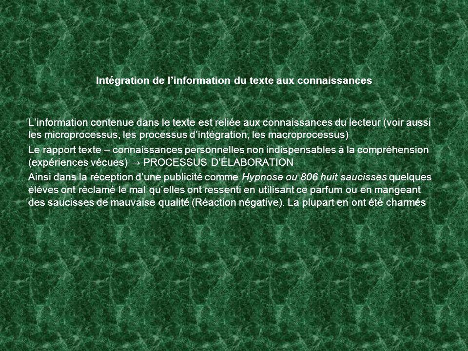 Intégration de linformation du texte aux connaissances Linformation contenue dans le texte est reliée aux connaissances du lecteur (voir aussi les mic