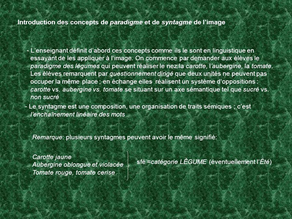 Introduction des concepts de paradigme et de syntagme de limage - Lenseignant définit dabord ces concepts comme ils le sont en linguistique en essayan