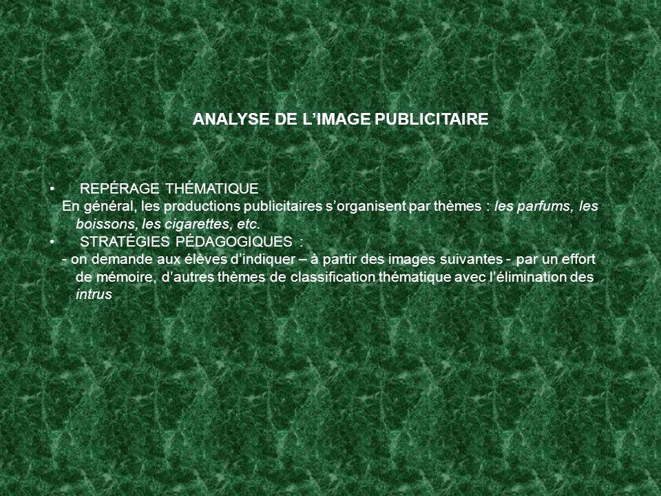 ANALYSE DE LIMAGE PUBLICITAIRE REPÉRAGE THÉMATIQUE En général, les productions publicitaires sorganisent par thèmes : les parfums, les boissons, les c