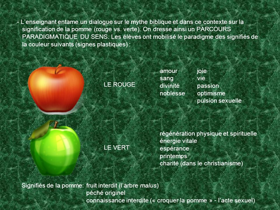 - Lenseignant entame un dialogue sur le mythe biblique et dans ce contexte sur la signification de la pomme (rouge vs. verte). On dresse ainsi un PARC