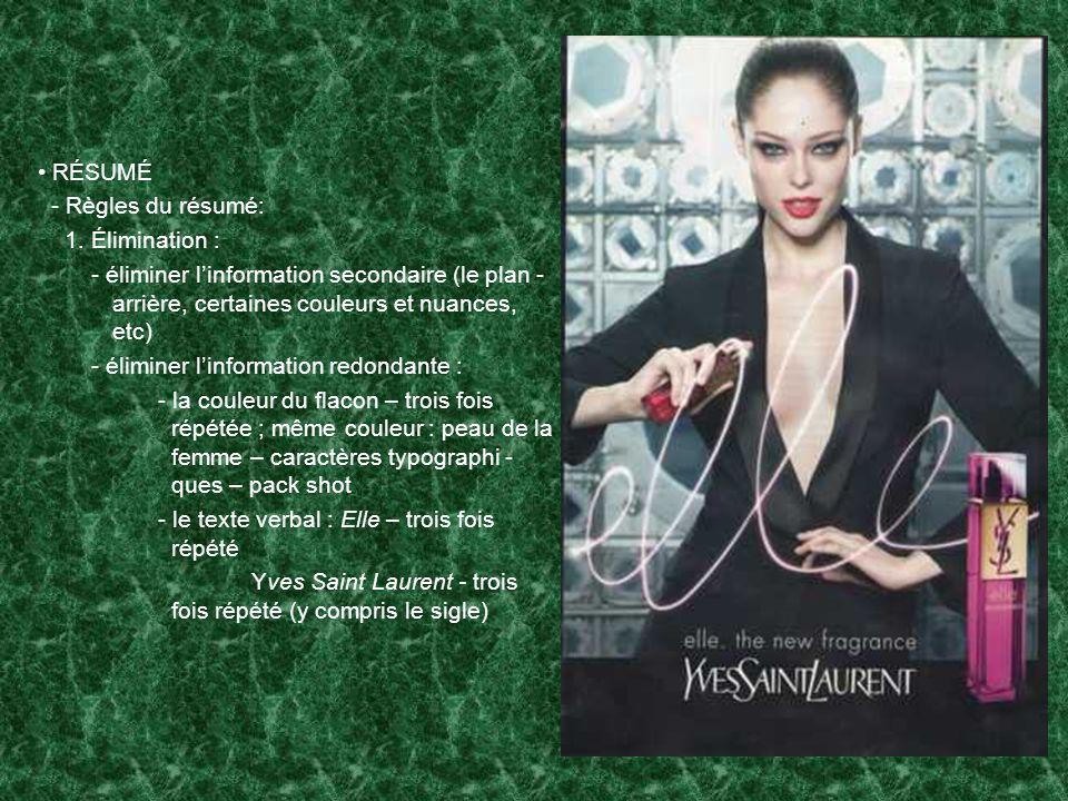 RÉSUMÉ - Règles du résumé: 1. Élimination : - éliminer linformation secondaire (le plan - arrière, certaines couleurs et nuances, etc) - éliminer linf