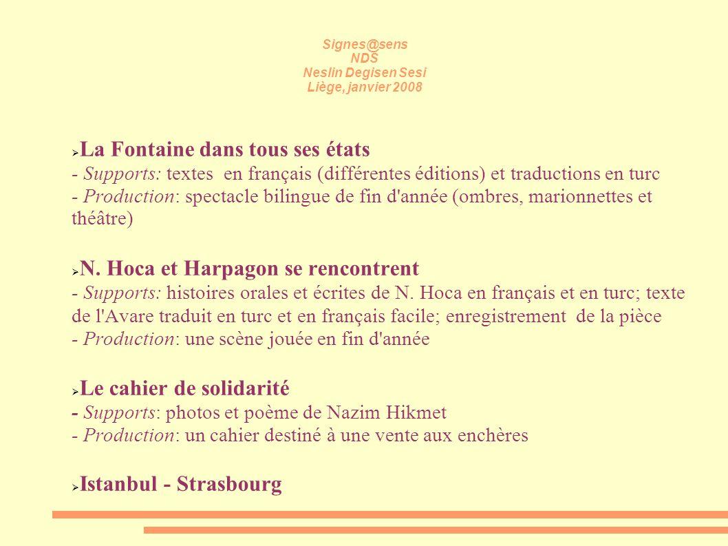 Signes@sens NDS Neslin Degisen Sesi Liège, janvier 2008 La Fontaine dans tous ses états - Supports: textes en français (différentes éditions) et tradu