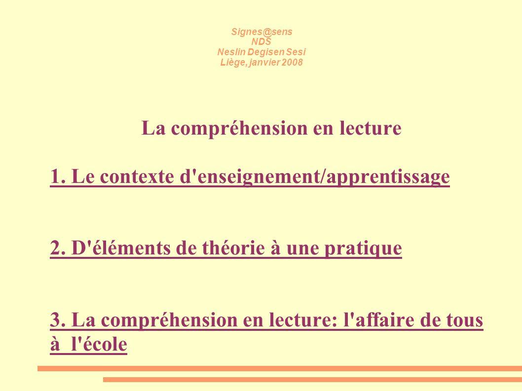 Signes@sens NDS Neslin Degisen Sesi Liège, janvier 2008 La compréhension en lecture 1. Le contexte d'enseignement/apprentissage 2. D'éléments de théor