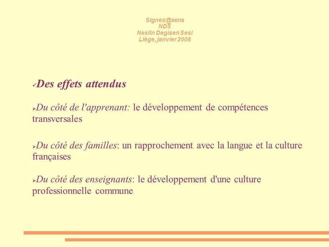 Signes@sens NDS Neslin Degisen Sesi Liège, janvier 2008 Des effets attendus Du côté de l'apprenant: le développement de compétences transversales Du c