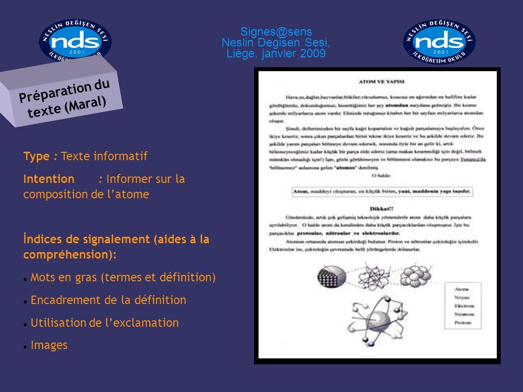 Type : Texte informatif Intention: Informer sur la composition de latome İndices de signalement (aides à la compréhension): Mots en gras (termes et dé