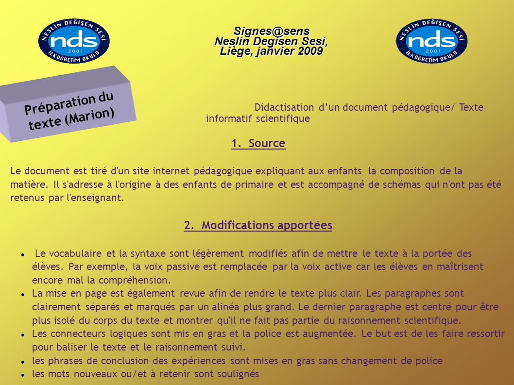 Didactisation dun document pédagogique/ Texte informatif scientifique 1.