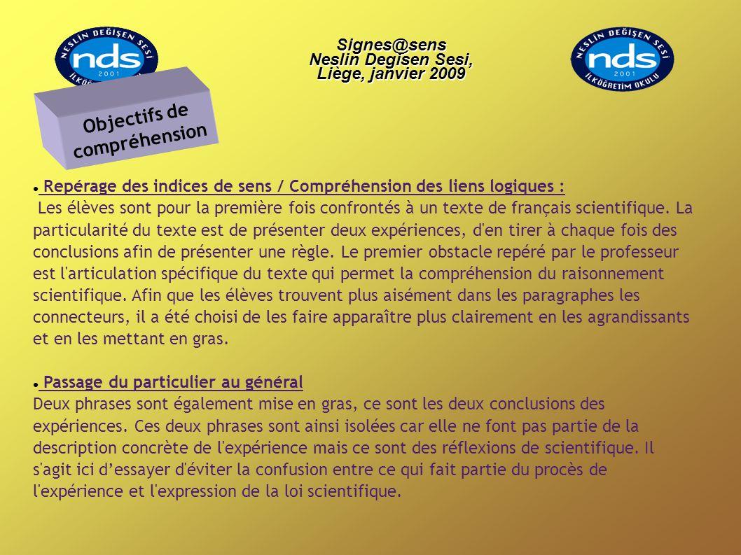 Signes@sens Neslin Degisen Sesi, Liège, janvier 2009 Signes@sens Neslin Degisen Sesi, Liège, janvier 2009 Repérage des indices de sens / Compréhension des liens logiques : Les élèves sont pour la première fois confrontés à un texte de français scientifique.