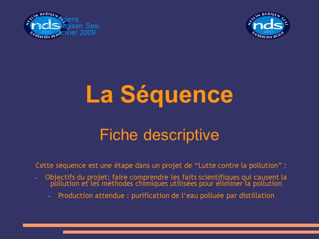 La Séquence Fiche descriptive Cette séquence est une étape dans un projet de Lutte contre la pollution : Objectifs du projet: faire comprendre les fai
