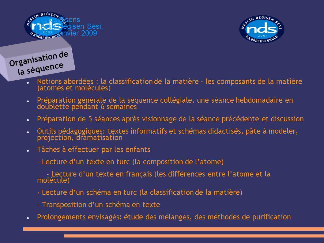 Notions abordées : la classification de la matière - les composants de la matière (atomes et molécules) Préparation générale de la séquence collégiale
