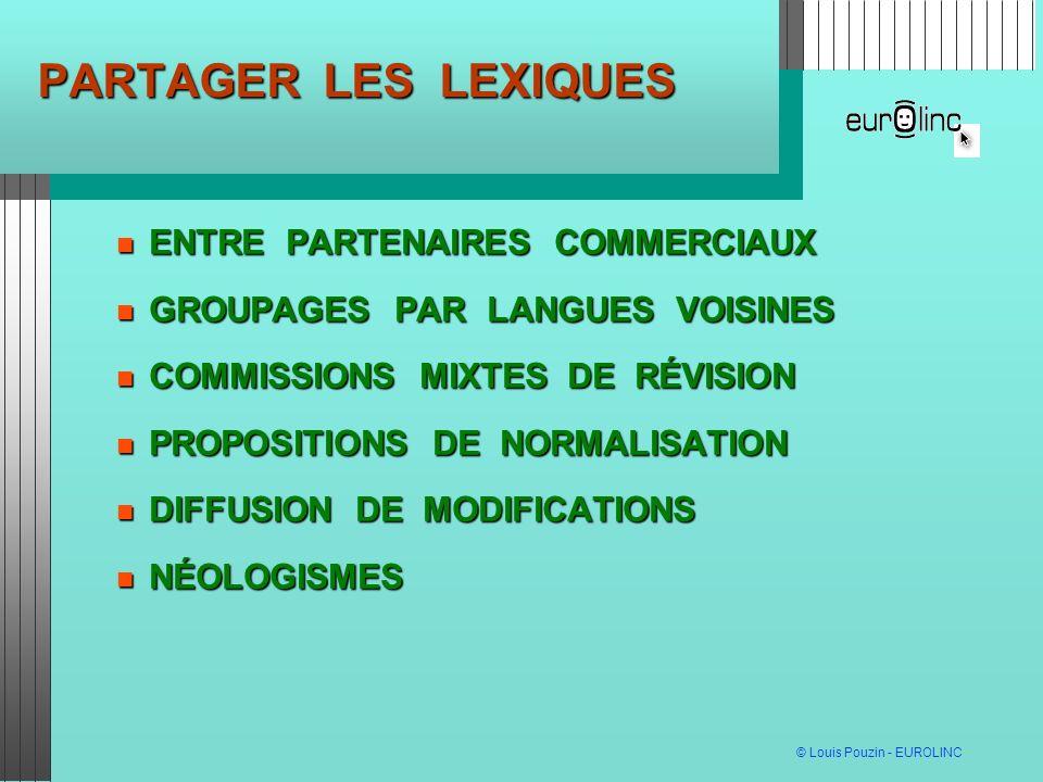 © Louis Pouzin - EUROLINC PARTAGER LES LEXIQUES ENTRE PARTENAIRES COMMERCIAUX ENTRE PARTENAIRES COMMERCIAUX GROUPAGES PAR LANGUES VOISINES GROUPAGES PAR LANGUES VOISINES COMMISSIONS MIXTES DE RÉVISION COMMISSIONS MIXTES DE RÉVISION PROPOSITIONS DE NORMALISATION PROPOSITIONS DE NORMALISATION DIFFUSION DE MODIFICATIONS DIFFUSION DE MODIFICATIONS NÉOLOGISMES NÉOLOGISMES