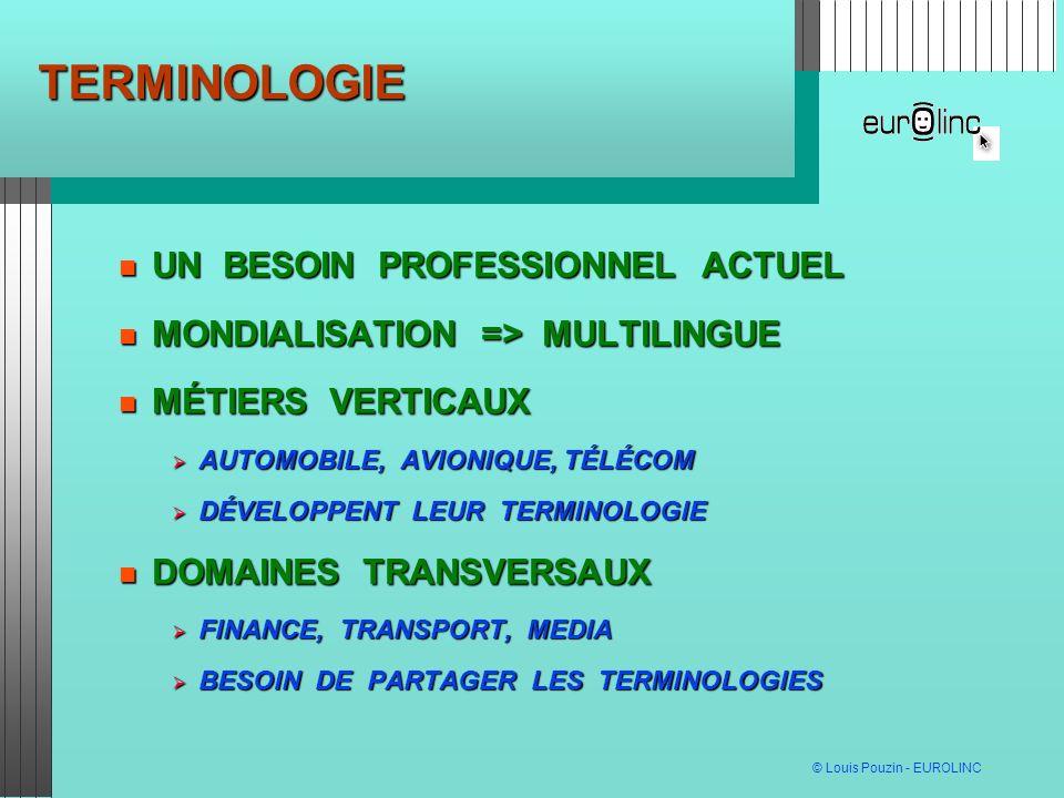 © Louis Pouzin - EUROLINC TERMINOLOGIE UN BESOIN PROFESSIONNEL ACTUEL UN BESOIN PROFESSIONNEL ACTUEL MONDIALISATION => MULTILINGUE MONDIALISATION => MULTILINGUE MÉTIERS VERTICAUX MÉTIERS VERTICAUX AUTOMOBILE, AVIONIQUE, TÉLÉCOM AUTOMOBILE, AVIONIQUE, TÉLÉCOM DÉVELOPPENT LEUR TERMINOLOGIE DÉVELOPPENT LEUR TERMINOLOGIE DOMAINES TRANSVERSAUX DOMAINES TRANSVERSAUX FINANCE, TRANSPORT, MEDIA FINANCE, TRANSPORT, MEDIA BESOIN DE PARTAGER LES TERMINOLOGIES BESOIN DE PARTAGER LES TERMINOLOGIES