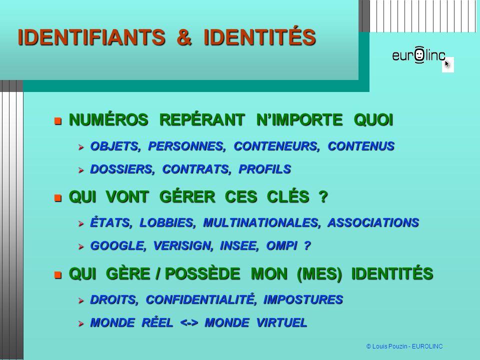 © Louis Pouzin - EUROLINC IDENTIFIANTS LES MÉTIERS ONT BESOIN DE CONTRÔLER LEURS IDENTIFIANTS LES MÉTIERS ONT BESOIN DE CONTRÔLER LEURS IDENTIFIANTS PERTINENCE, USAGES FUTURS, LANGUE, NORMES,..