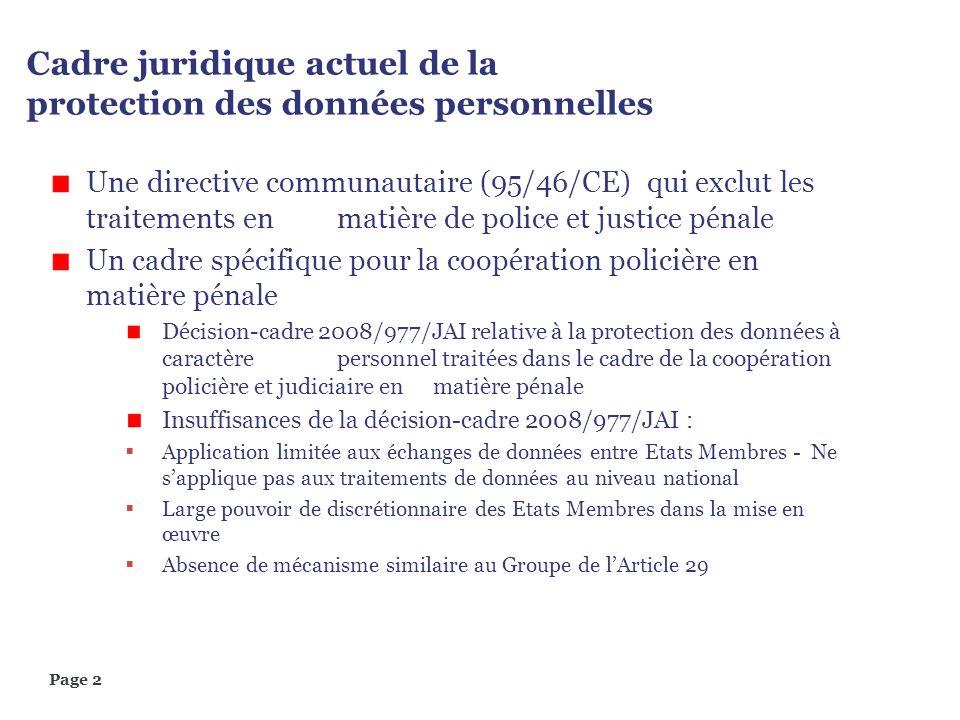 Page 2 Cadre juridique actuel de la protection des données personnelles Une directive communautaire (95/46/CE) qui exclut les traitements en matière d