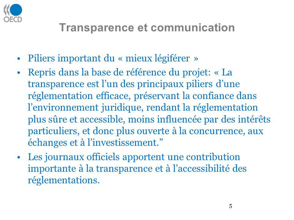 Transparence et communication Piliers important du « mieux légiférer » Repris dans la base de référence du projet: « La transparence est lun des princ