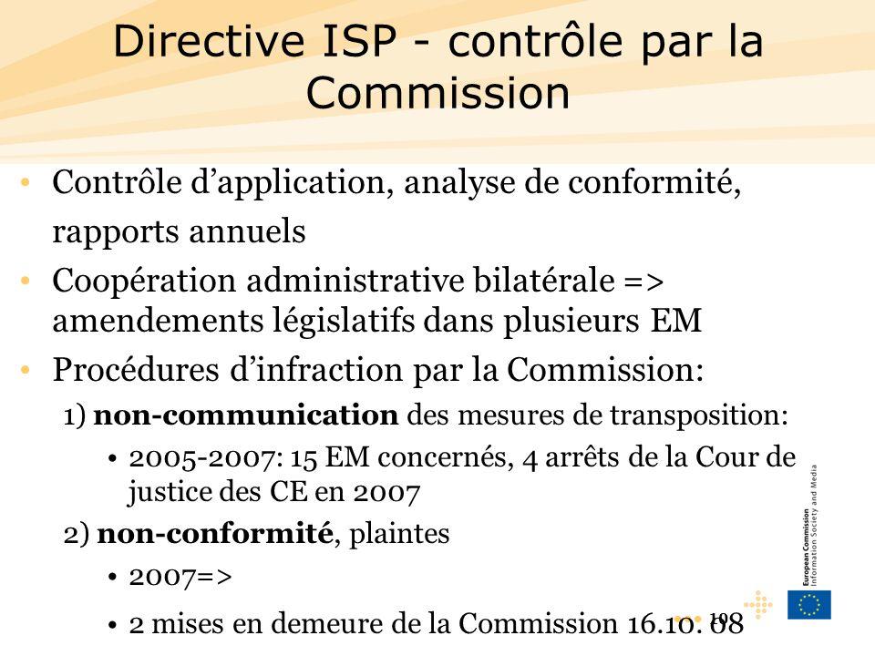 10 Directive ISP - contrôle par la Commission Contrôle dapplication, analyse de conformité, rapports annuels Coopération administrative bilatérale => amendements législatifs dans plusieurs EM Procédures dinfraction par la Commission: 1) non-communication des mesures de transposition: 2005-2007: 15 EM concernés, 4 arrêts de la Cour de justice des CE en 2007 2) non-conformité, plaintes 2007=> 2 mises en demeure de la Commission 16.10.