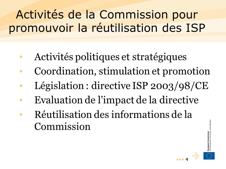 4 Activités de la Commission pour promouvoir la réutilisation des ISP Activités politiques et stratégiques Coordination, stimulation et promotion Législation : directive ISP 2003/98/CE Evaluation de limpact de la directive Réutilisation des informations de la Commission