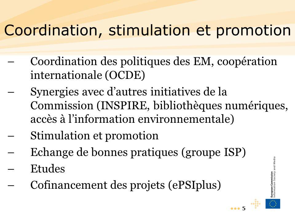 5 Coordination, stimulation et promotion –Coordination des politiques des EM, coopération internationale (OCDE) –Synergies avec dautres initiatives de la Commission (INSPIRE, bibliothèques numériques, accès à linformation environnementale) –Stimulation et promotion –Echange de bonnes pratiques (groupe ISP) –Etudes –Cofinancement des projets (ePSIplus)