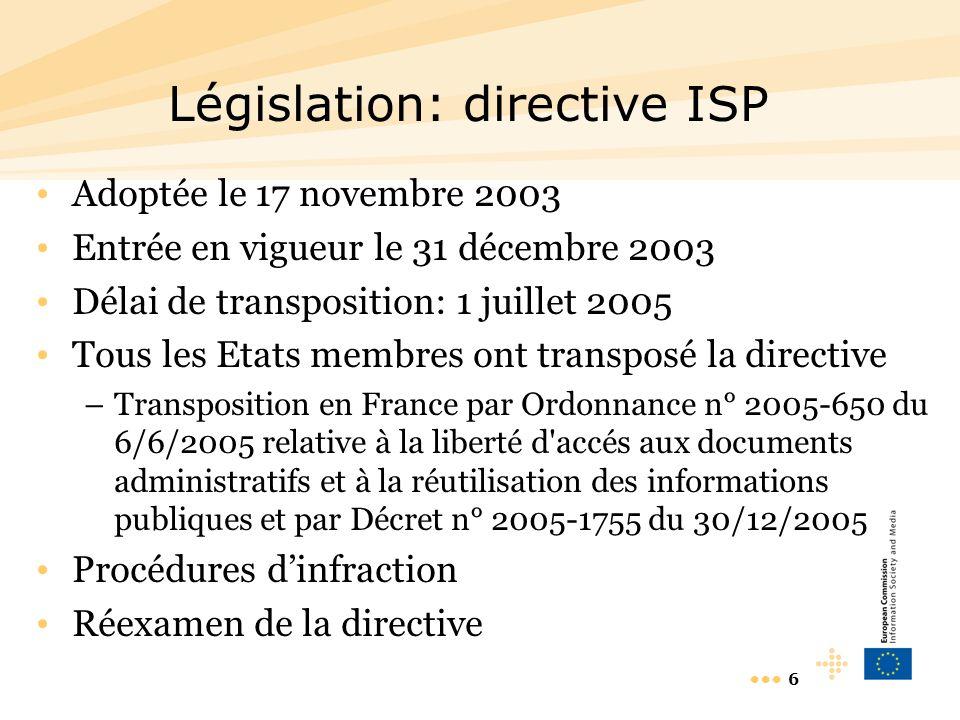 6 Législation: directive ISP Adoptée le 17 novembre 2003 Entrée en vigueur le 31 décembre 2003 Délai de transposition: 1 juillet 2005 Tous les Etats membres ont transposé la directive –Transposition en France par Ordonnance n° 2005-650 du 6/6/2005 relative à la liberté d accés aux documents administratifs et à la réutilisation des informations publiques et par Décret n° 2005-1755 du 30/12/2005 Procédures dinfraction Réexamen de la directive