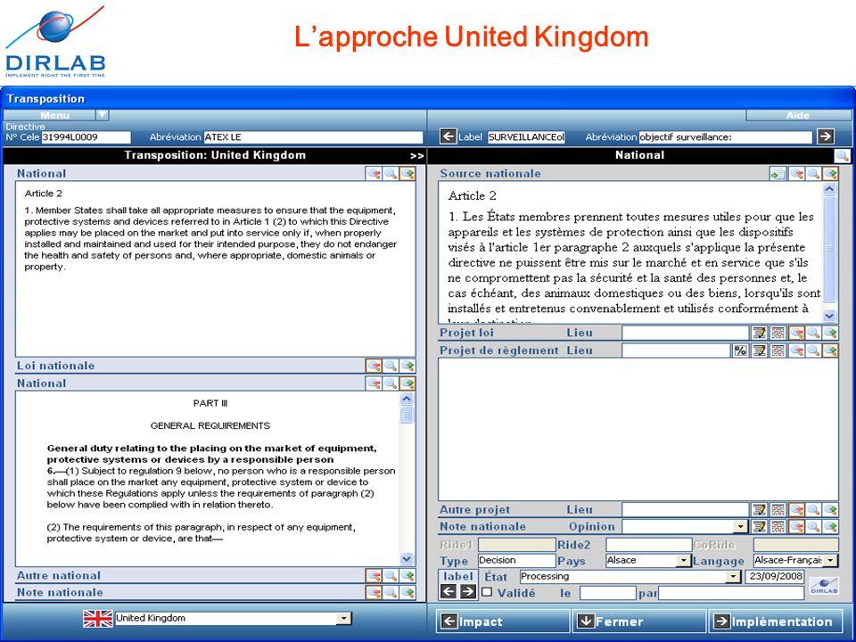 11 décembre 2008Journées européennes de l'informatique juridique14 Lapproche United Kingdom
