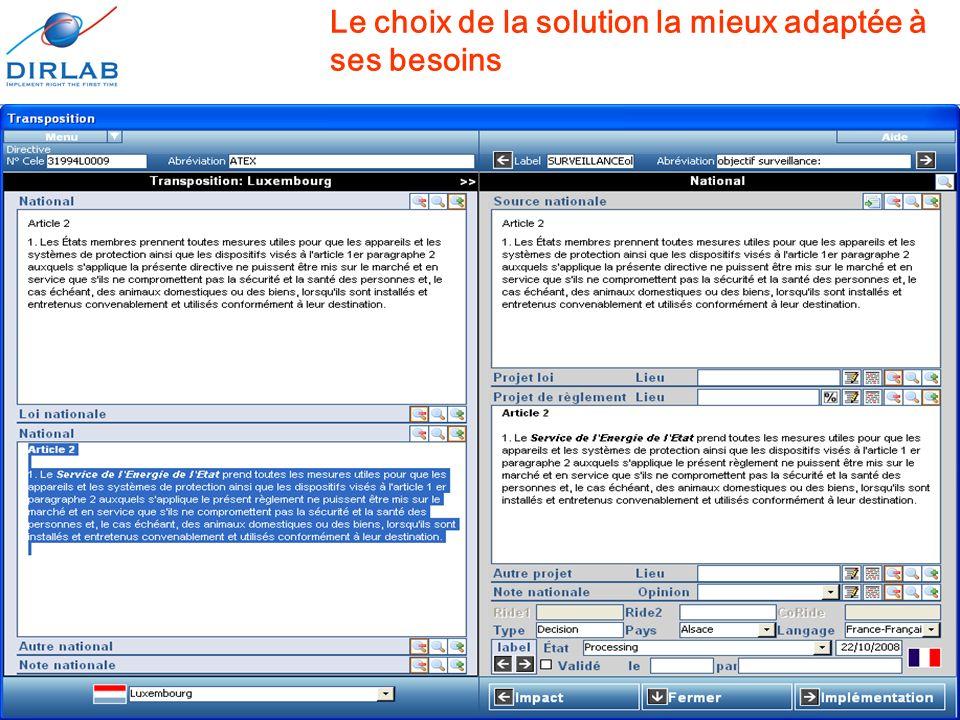 11 décembre 2008Journées européennes de l'informatique juridique17 Le choix de la solution la mieux adaptée à ses besoins