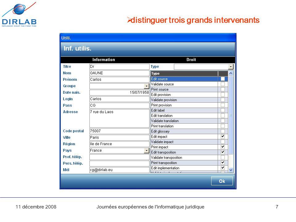11 décembre 2008Journées européennes de l informatique juridique8 suivre les travaux validés en temps réel Directive Temps restant Part validée
