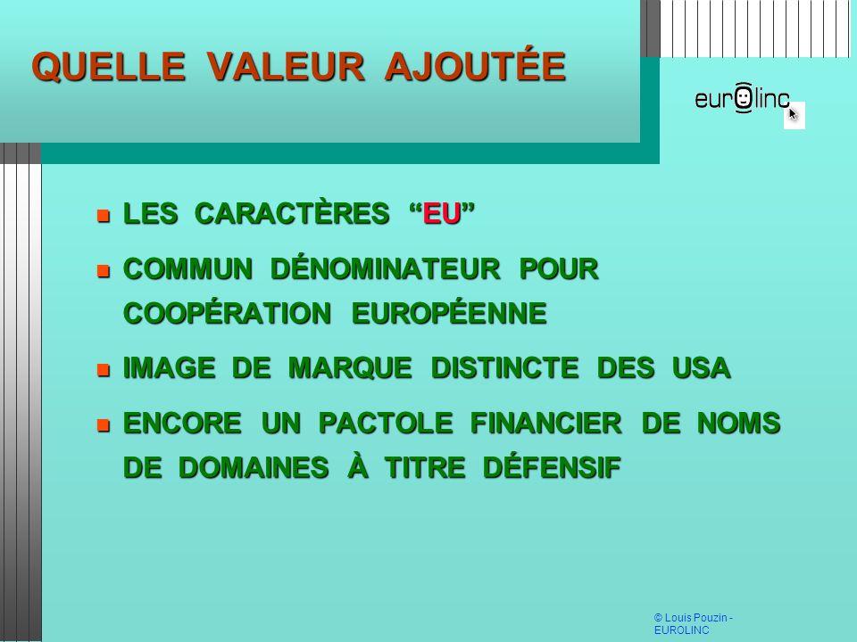 © Louis Pouzin - EUROLINC QUELLE VALEUR AJOUTÉE LES CARACTÈRES EU LES CARACTÈRES EU COMMUN DÉNOMINATEUR POUR COOPÉRATION EUROPÉENNE COMMUN DÉNOMINATEU