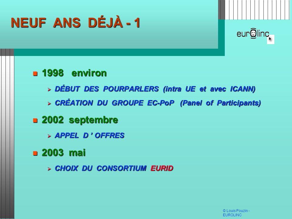 © Louis Pouzin - EUROLINC NEUF ANS DÉJÀ - 1 1998 environ 1998 environ DÉBUT DES POURPARLERS (intra UE et avec ICANN) DÉBUT DES POURPARLERS (intra UE e