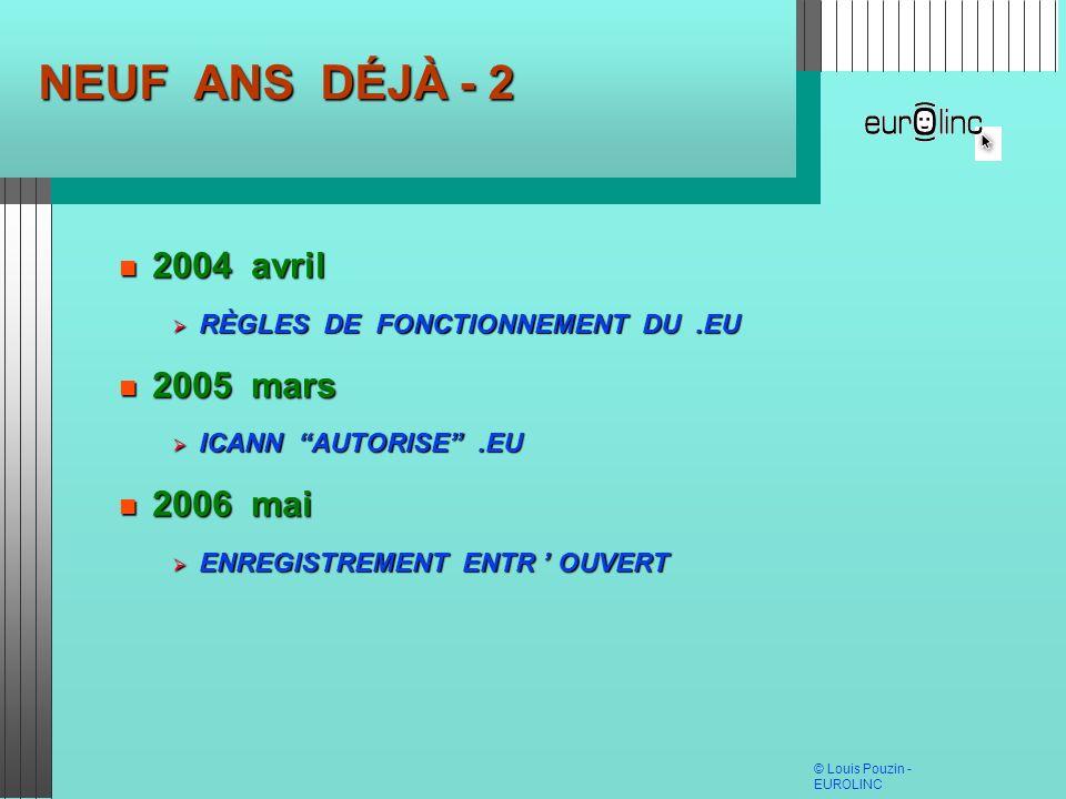 © Louis Pouzin - EUROLINC NEUF ANS DÉJÀ - 2 2004 avril 2004 avril RÈGLES DE FONCTIONNEMENT DU.EU RÈGLES DE FONCTIONNEMENT DU.EU 2005 mars 2005 mars IC
