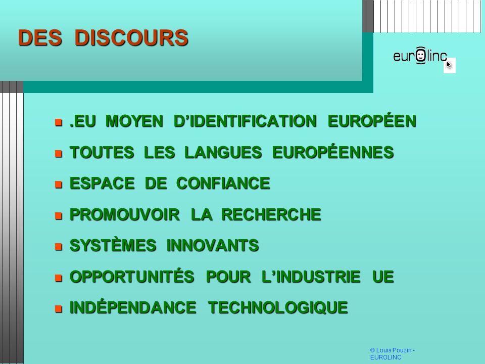© Louis Pouzin - EUROLINC DES DISCOURS.EU MOYEN DIDENTIFICATION EUROPÉEN.EU MOYEN DIDENTIFICATION EUROPÉEN TOUTES LES LANGUES EUROPÉENNES TOUTES LES L