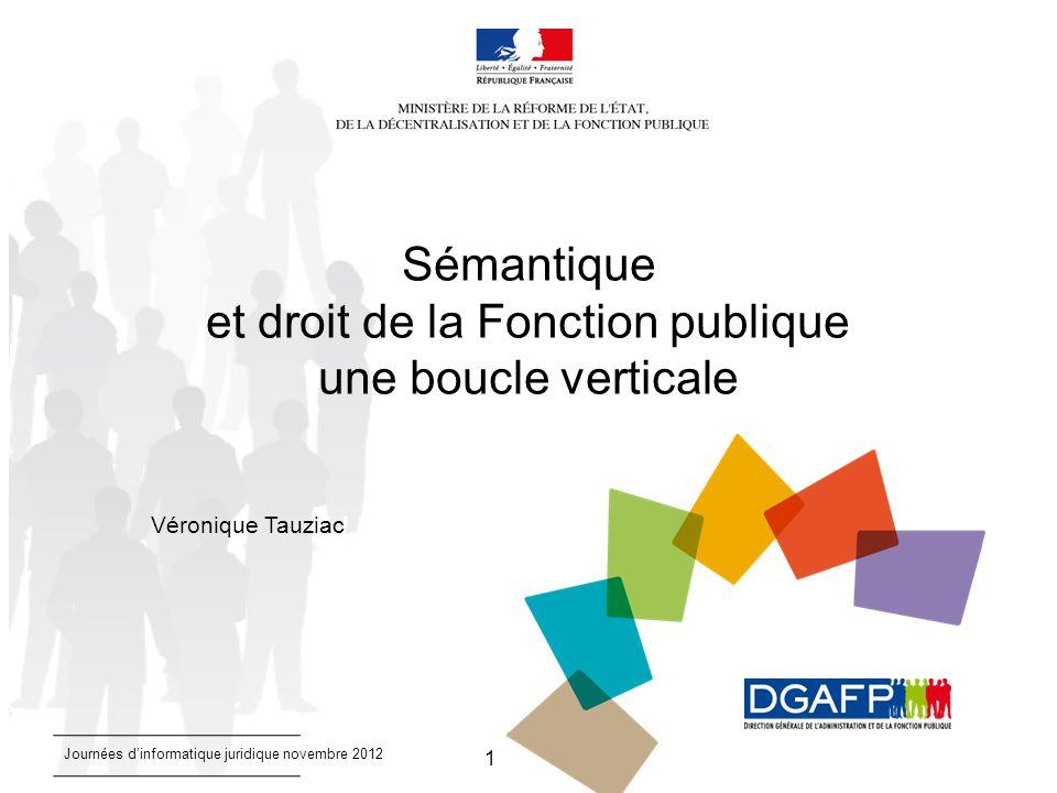 1 Sémantique et droit de la Fonction publique une boucle verticale Véronique Tauziac Journées dinformatique juridique novembre 2012