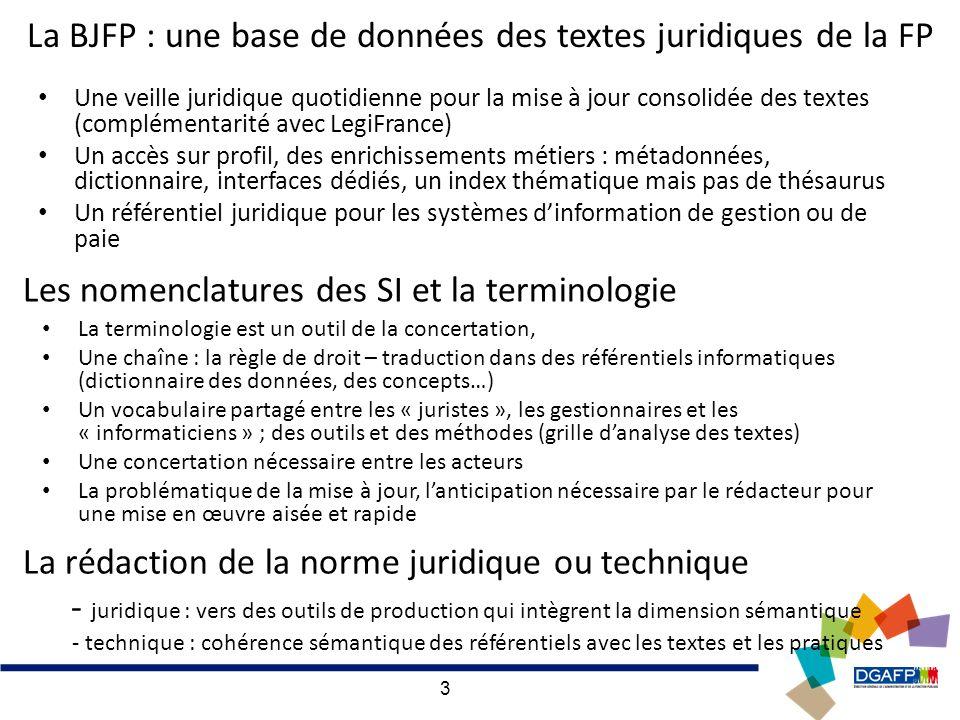 3 La BJFP : une base de données des textes juridiques de la FP Une veille juridique quotidienne pour la mise à jour consolidée des textes (complémenta