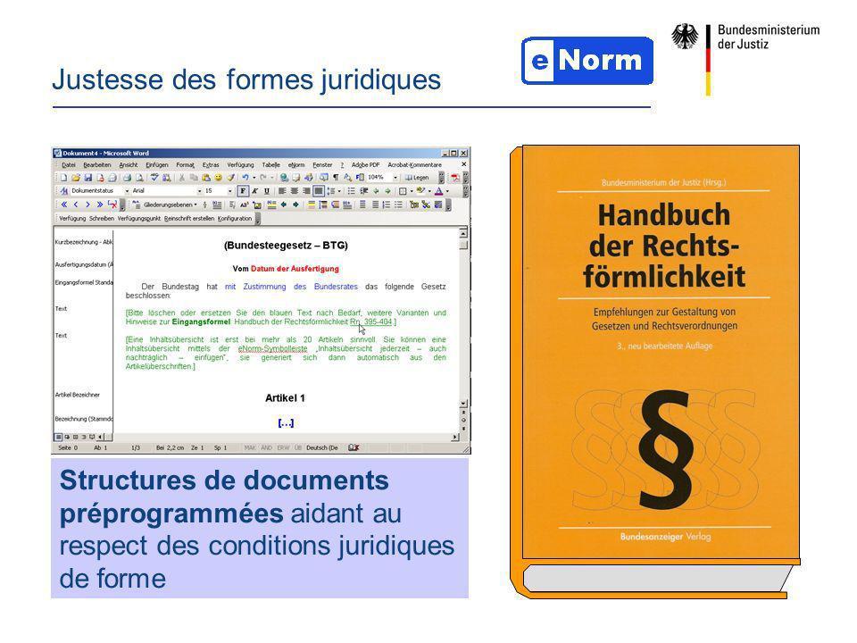 Justesse des formes juridiques Structures de documents préprogrammées aidant au respect des conditions juridiques de forme