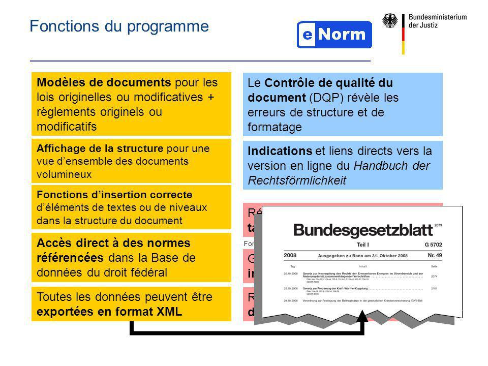 Fonctions du programme Modèles de documents pour les lois originelles ou modificatives + règlements originels ou modificatifs Indications et liens dir