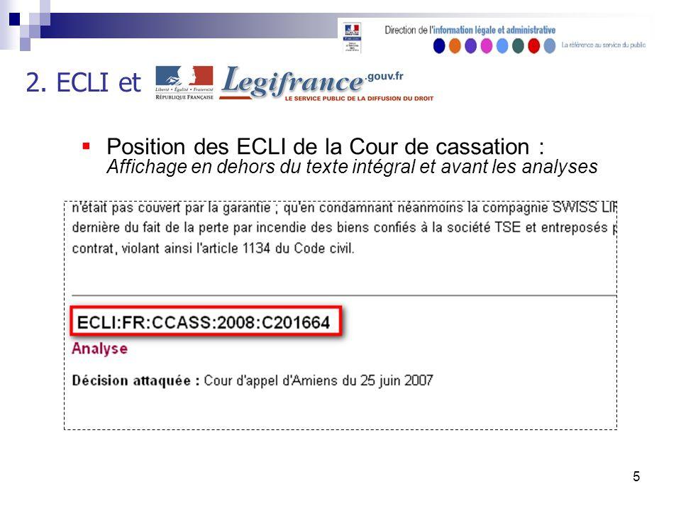 5 Position des ECLI de la Cour de cassation : Affichage en dehors du texte intégral et avant les analyses 2.