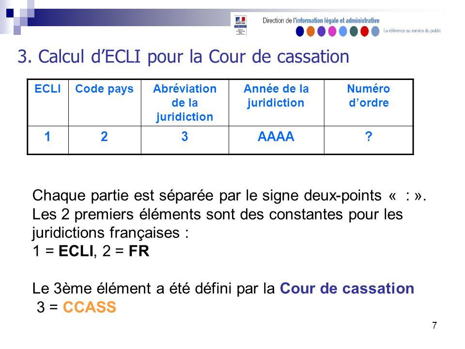 7 3. Calcul dECLI pour la Cour de cassation ECLICode paysAbréviation de la juridiction Année de la juridiction Numéro dordre 123AAAA? Chaque partie es