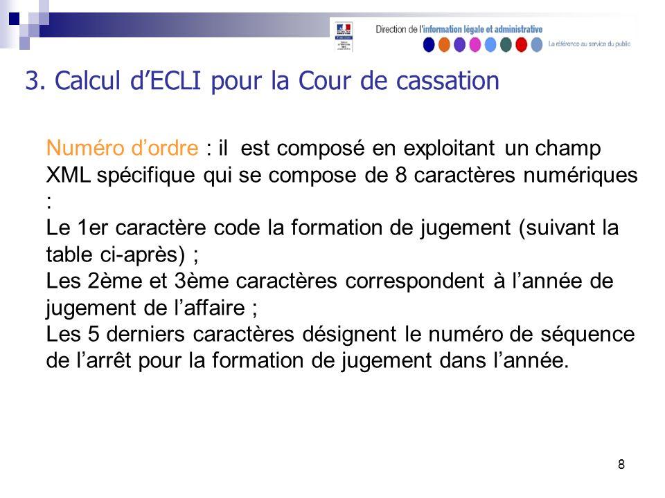 8 3. Calcul dECLI pour la Cour de cassation Numéro dordre : il est composé en exploitant un champ XML spécifique qui se compose de 8 caractères numéri