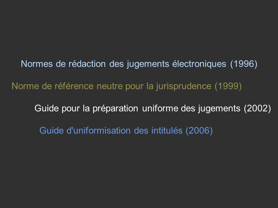 Normes de rédaction des jugements électroniques (1996) Norme de référence neutre pour la jurisprudence (1999) Guide pour la préparation uniforme des jugements (2002) Guide d uniformisation des intitulés (2006)