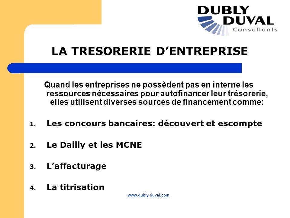 LA TRESORERIE DENTREPRISE Quand les entreprises ne possèdent pas en interne les ressources nécessaires pour autofinancer leur trésorerie, elles utilis