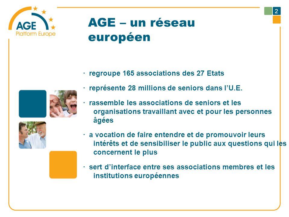 AGE – un réseau européen · regroupe 165 associations des 27 Etats · représente 28 millions de seniors dans lU.E. · rassemble les associations de senio