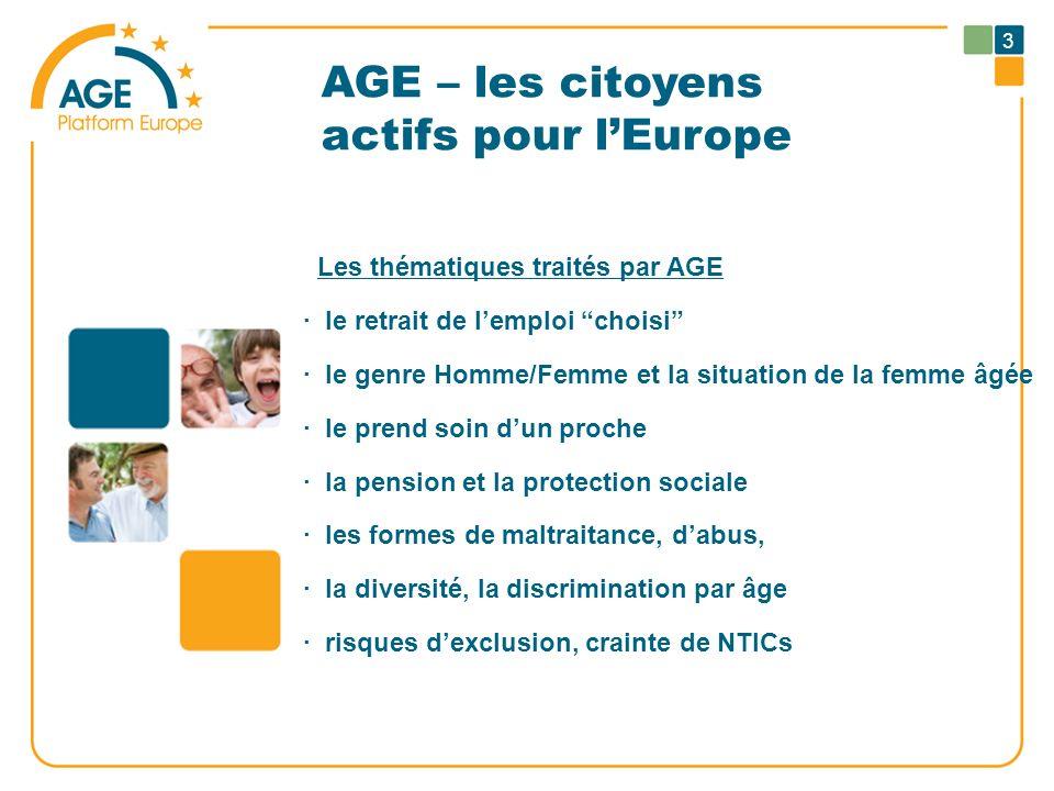 AGE – les citoyens actifs pour lEurope Les thématiques traités par AGE · le retrait de lemploi choisi · le genre Homme/Femme et la situation de la fem