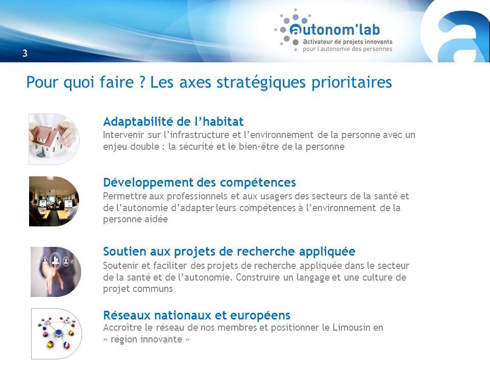 3 Pour quoi faire ? Les axes stratégiques prioritaires Adaptabilité de lhabitat Développement des compétences Soutien aux projets de recherche appliqu