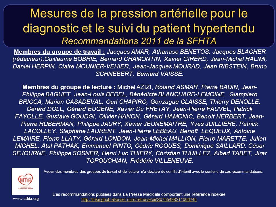 Ces recommandations publiées dans La Presse Médicale comportent une référence indexée http://linkinghub.elsevier.com/retrieve/pii/S0755498211006245 http://linkinghub.elsevier.com/retrieve/pii/S0755498211006245 www.sfhta.org Mesures de la pression artérielle pour le diagnostic et le suivi du patient hypertendu Recommandations 2011 de la SFHTA Membres du groupe de travail : Jacques AMAR, Athanase BENETOS, Jacques BLACHER (rédacteur),Guillaume BOBRIE, Bernard CHAMONTIN, Xavier GIRERD, Jean-Michel HALIMI, Daniel HERPIN, Claire MOUNIER-VEHIER, Jean-Jacques MOURAD, Jean RIBSTEIN, Bruno SCHNEBERT, Bernard VAÏSSE.