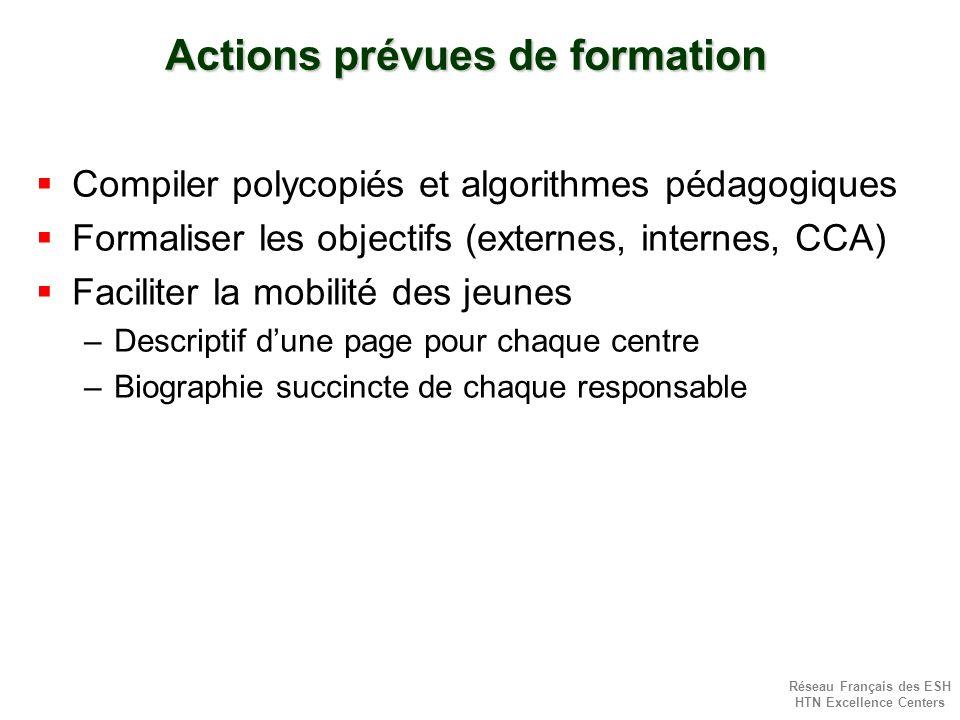 Réseau Français des ESH HTN Excellence Centers Actions prévues de formation Compiler polycopiés et algorithmes pédagogiques Formaliser les objectifs (