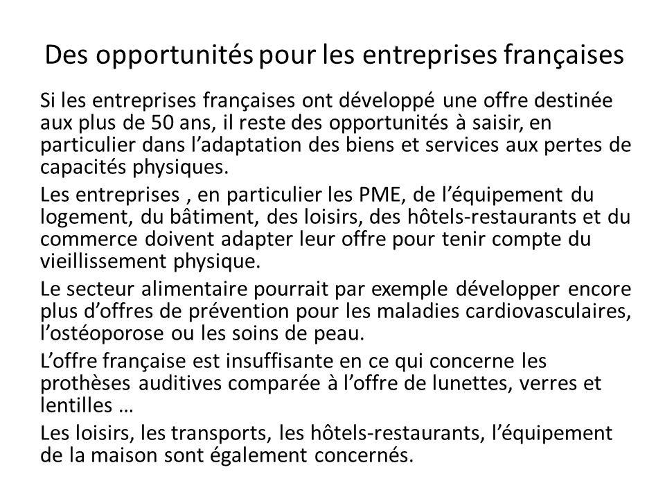 Des opportunités pour les entreprises françaises Si les entreprises françaises ont développé une offre destinée aux plus de 50 ans, il reste des oppor