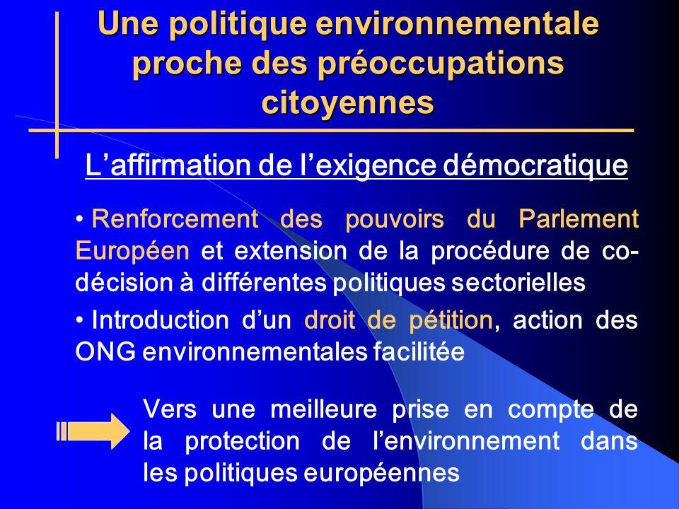 Une politique environnementale proche des préoccupations citoyennes Laffirmation de lexigence démocratique Renforcement des pouvoirs du Parlement Européen et extension de la procédure de co- décision à différentes politiques sectorielles Introduction dun droit de pétition, action des ONG environnementales facilitée Vers une meilleure prise en compte de la protection de lenvironnement dans les politiques européennes