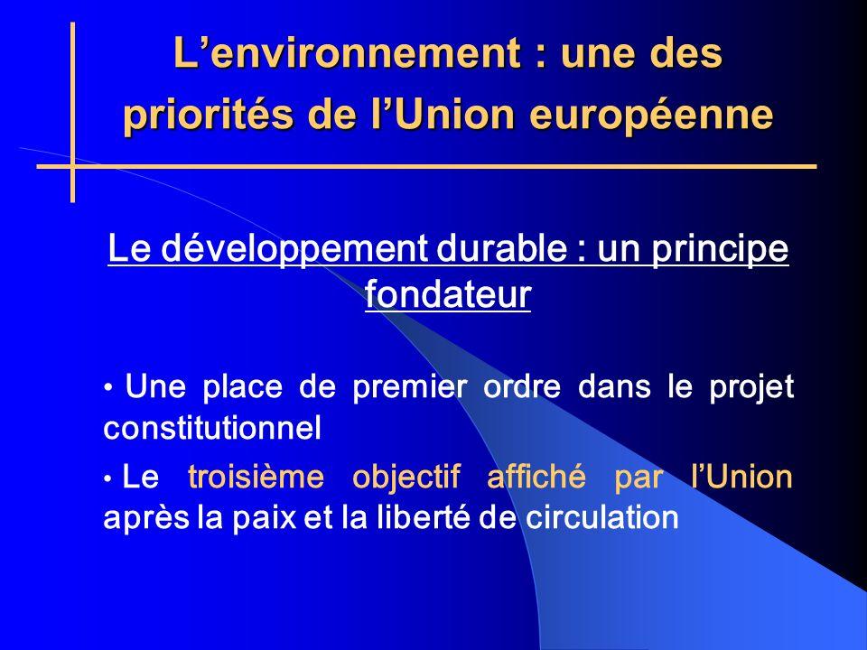 Lenvironnement : une des priorités de lUnion européenne Le développement durable : un principe fondateur Une place de premier ordre dans le projet constitutionnel Le troisième objectif affiché par lUnion après la paix et la liberté de circulation
