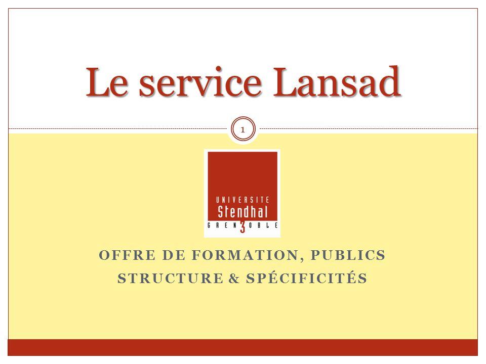 OFFRE DE FORMATION, PUBLICS STRUCTURE & SPÉCIFICITÉS Le service Lansad 1